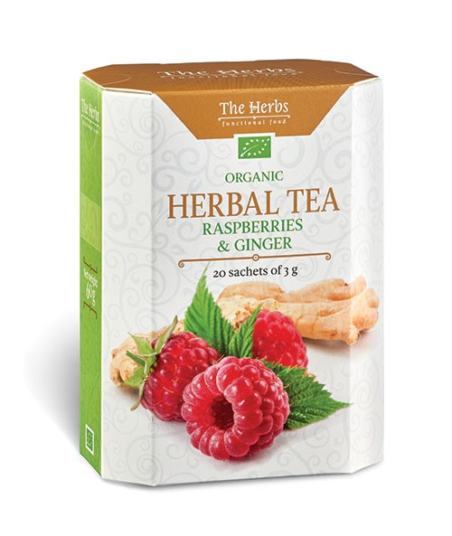 Organic Raspberries & Ginger Herbal Tea