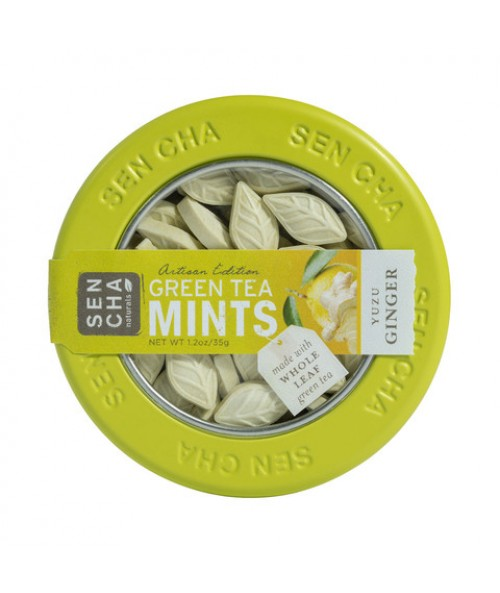 Yuzu Ginger Green Tea Mints , Single Canister