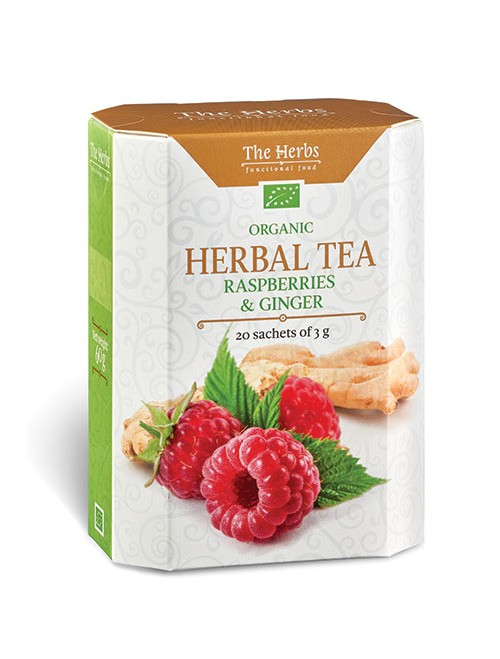 Organic Raspberries & Ginger Herbal Tea