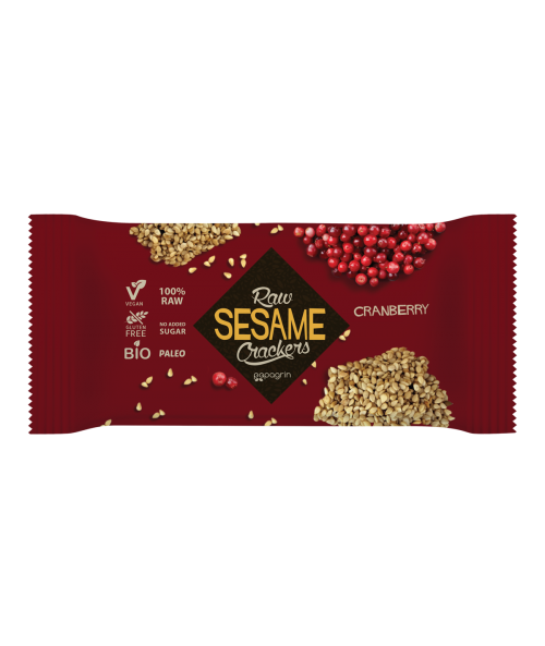 Raw Sesame Crackers Cranberry