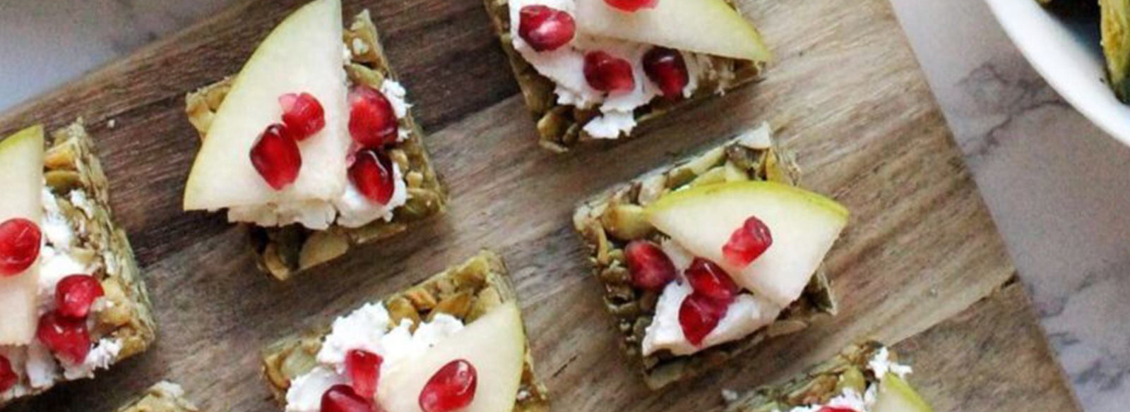 Pear and Goat Cheese Pumpkin Seed Canapés